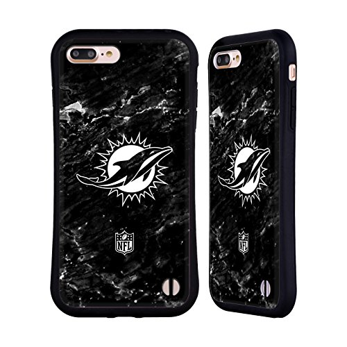Miami Dolphins Football Case (Official NFL Marble 2017/18 Miami Dolphins Hybrid Case for Apple iPhone 7 Plus / 8 Plus)