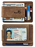 Toughergun Genuine Leather Magnetic Front Pocket Money Clip Wallet RFID Blocking(Crazy Horse Khaki)