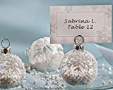 96 ''Snow Flurry'' Flocked Glass Ornament Place Card/Photo Holder