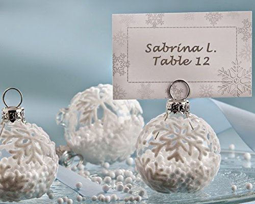 96 ''Snow Flurry'' Flocked Glass Ornament Place Card/Photo Holder by Kateaspen