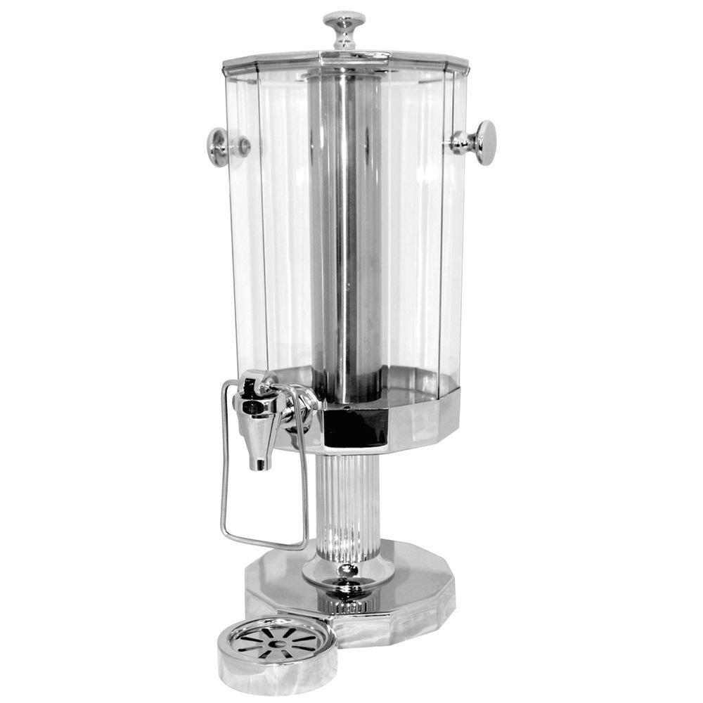 Service Ideas DDC6SSPS 1.5 Gallon / 6 Liter Hands Free Beverage Dispenser w/ Ice Tube and removeable drip tray, Stainless Steel, Polished