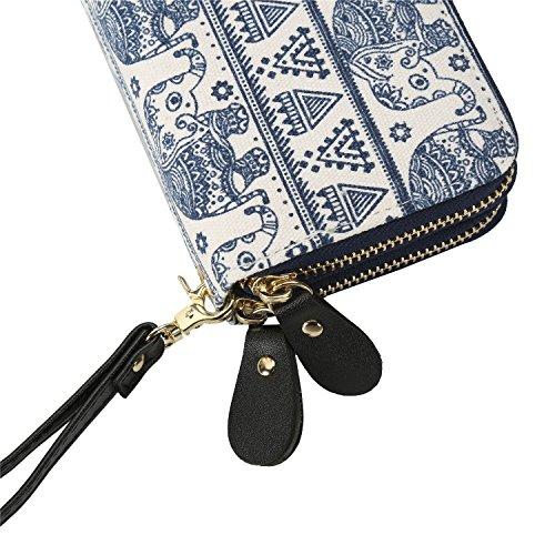Grand Elephant Portefeuille multicolore Pour Porte Porte Blanc Cabes carte Casual Femme monnaie Double ZTwPC