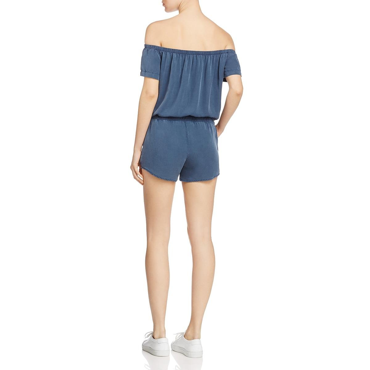 57d21ae927a Amazon.com  Bella Dahl Womens Off The Shoulder Short Sleeves Romper Blue  XS  Clothing
