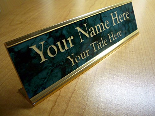 Marble Desk Nameplates (Custom Engraved 2x8 Premium Name Plate & Desk Holder | Marble Green & Gold | Personalized Customized Desk Tag Sign)