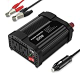 MoKo 200W Car Power Inverter, [2 AC Outlets + 2 USB Ports] DC 12V to 110V AC Converter Adapter, with 3.1A Dual USB Ports Battery Charger for iPhone X/8/8 Plus, Laptop, Tablet, Camera, etc. - Black