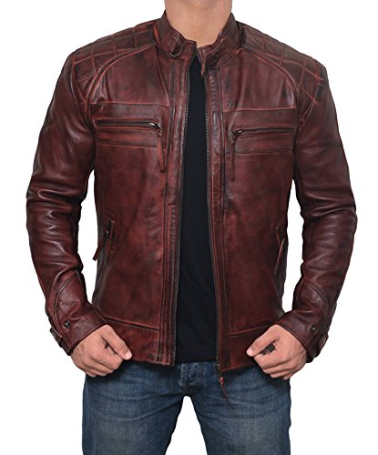 Brown Jacket Men for Bikers - Slim Fit Waxed Lambskin Distressed Leather Jacket | M
