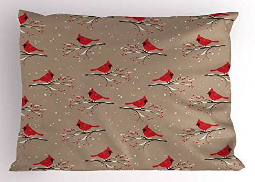 Lunarable Cardinal Pillow Sham, Cardinal Bird Silhouettes on Snowy Berry Branches on Abstract Background, Decorative Standard Queen Size Printed Pillowcase, 30 X 20 Inches, Caramel Taupe Red Cardinals Sham