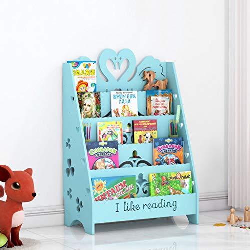 KTYXDE Cartoon Bookshelf Engraving Picture Book Living Room Floor Locker Book Display Stand School Reading Display Stand Blue Swan 60x32x90cm Bookshelf (Size : S)