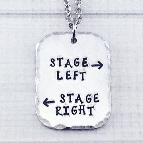 Stage Left Stage Right Theatre Performer Thespian Necklace - Break a Leg Opening Night Closing Night