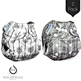 (US) Bumworks Charcoal Double Gusset Bamboo Pocket Cloth Diapers with Bamboo 4 Layer Inserts (Set of 2) - Perfect Designs for Boys and for Girls - Makes for Great Shower Gift (Arrows)