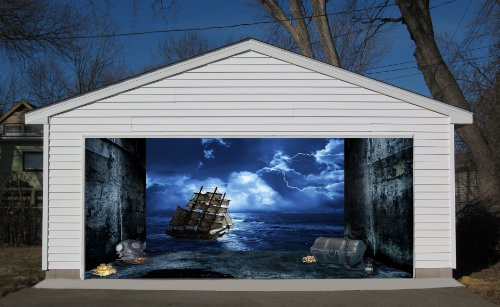 3D Effect Garage Door Billboard Sticker Cover Decor Old Ship in Storm 7x8 Feet by VSGraphics LLC