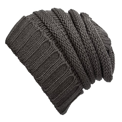 WINCAN Stretch Cable Slouchy Beanie Hat Trendy Warm Chunky Soft Knit Cap (deep grey) (Ranger Adult Accessory Kit)