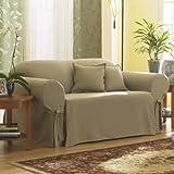 Sure Fit SF26666 Cotton Duck Sofa Slipcover, Linen