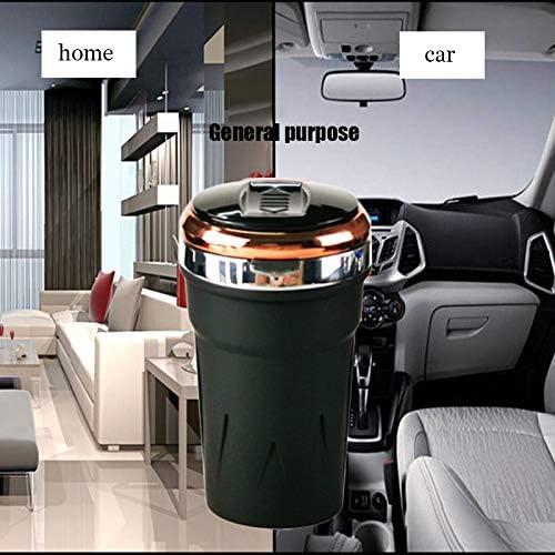 2 1車の灰皿で、ほとんどの車のカップホルダーのための青色LEDインジケータライト付きポータブル自動車のシガーライター灰皿無煙は、USBケーブルを充電します,金