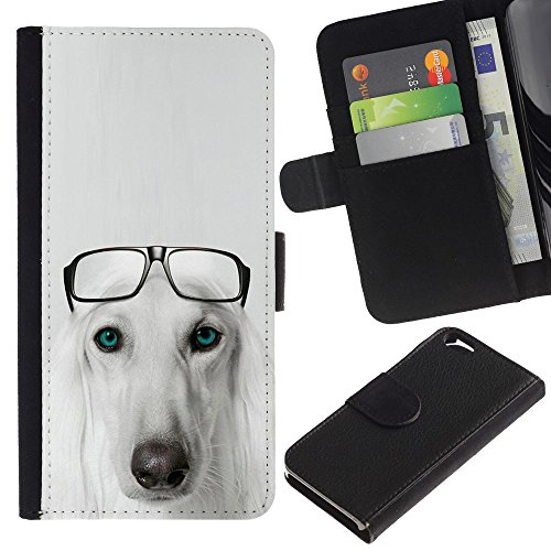 OMEGA Case / Apple Iphone 6 4.7 / Saluki Hound dog breed glasses Persian / Cuir PU Portefeuille Coverture Shell Armure Coque Coq Cas Etui Housse Case Cover Wallet Credit Card