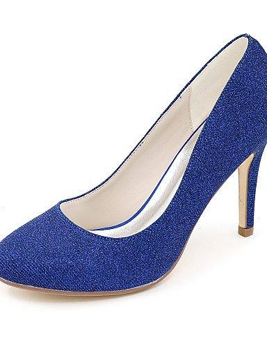 GGX/ Damen-High Heels-Hochzeit / Kleid / Party & Festivität-Glanz-Stöckelabsatz-Absätze / Rundeschuh / Geschlossene Zehe-Schwarz / Blau / Rot 3in-3 3/4in-blue