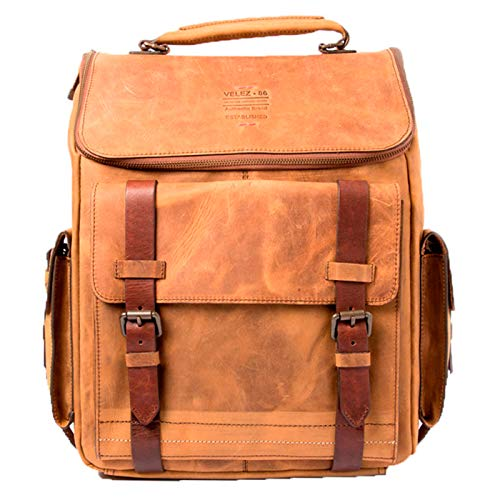 VELEZ Leather Honey Backpack Vintage for Men | Mochila de Cuero para Hombre Miel