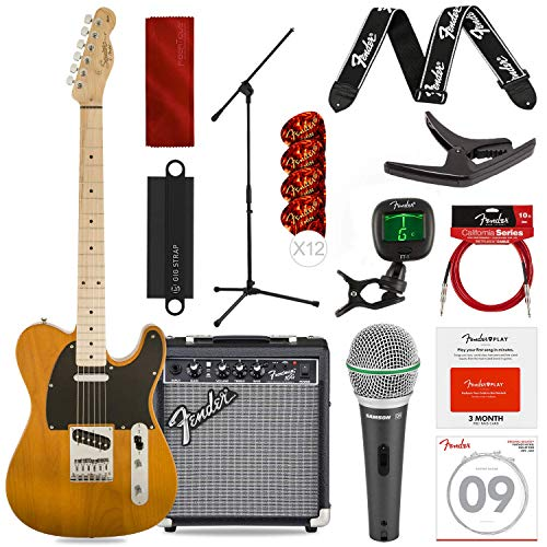 Squier by Fender Affinity Series Telecaster Beginner Electric Guitar, Butterscotch Blonde with Microphone & Stand Bundle + Amp, Capo, Tuner, Strings, Picks & Complete Starters Pack