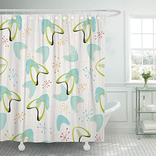 TOMPOP Shower Curtain Red 1950S Retro Bark Boomerangs Pattern Yellow 1960S 1970S Waterproof Polyester Fabric 72 x 72 inches Set with Hooks ()