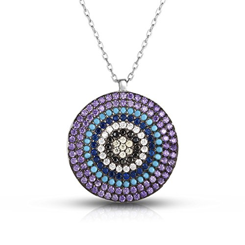 (Sterling Silver Outer Purple 6-Multiple Colors Circular Nano Pendant Necklace with Adjustable Length 16