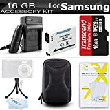 16GB Accessories Kit For Samsung WB350F Smart WiFi Digital Camera Includes 16GB High Speed Micro SD Memory Card + Extended Replacement (1000 maH) SLB-10A Battery + AC/DC Travel Charger + Case + Mini TableTop Tripod + Screen Protectors + More