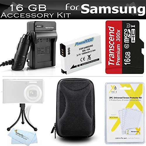 16GB Accessories Kit For Samsung WB350F Smart WiFi Digital Camera Includes 16GB High Speed Micro SD Memory Card + Extended Replacement (1000 maH) SLB-10A Battery + AC/DC Travel Charger + Case + Mini TableTop Tripod + Screen Protectors + More by ButterflyPhoto