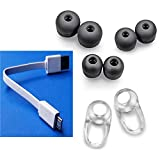 3 SETS S/M/L Black Earbuds, 2 In-Ear Stabilizers, 1 Short Micro USB Charger for Plantronics BACKBEAT GO 2, GO2 Spare ear tips, ear gels and 2 stabilizers for BackbeatGo2 (BLACK) Part# 87709-03