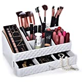 Cosmetic Storage Box Organizer - Compartments to Organize and Store Your Cosmetics Makeup and Accessories. Drawer with Padding to Protect Jewelry. Will Sit Neatly on Vanity or Bathroom Countertop.