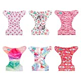 ALVABABY Cloth Diaper, One Size Adjustable Washable Reusable for Baby Girls and Boys 6 Pack with 12 Inserts 6DM06