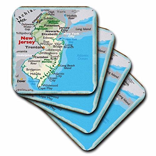 (3dRose CST_39034_3 Framed Map of New Jersey Ceramic Tile Coaster (Set of 4))