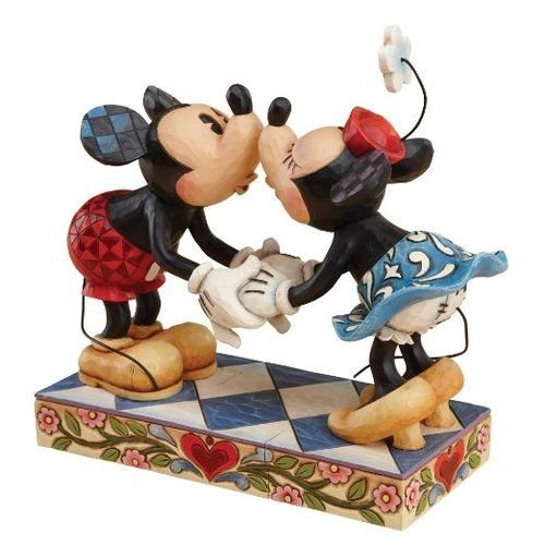 """Cheeky Mouse - Enesco Disney Traditions by Jim Shore Mickey Mouse Kissing Minnie Stone Resin Figurine, 6.5"""""""
