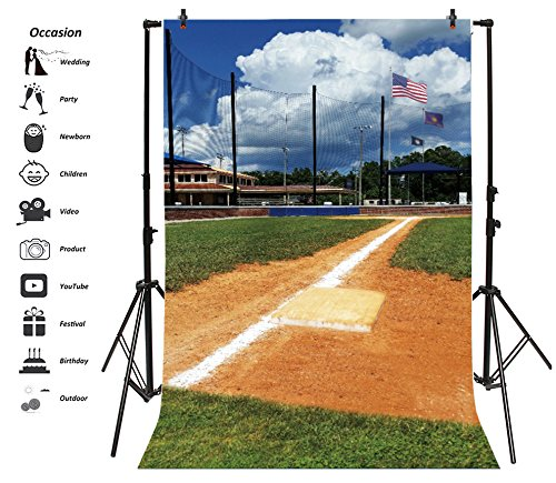 Leyiyi 3x5ft Photography Background Grunge Baseball Field Backdrop American Flag National Training Ground School Team Teenage Competition Graduation Photo Portrait Vinyl Video Studio Prop