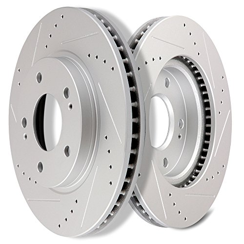 SCITOO Brakes Rotors 2pcs Front Drilled Slotted Discs Brake Rotors Brakes Kit fit Chrysler Sebring,Dodge Stratus,Mitsubishi Eclipse Galant Lance -