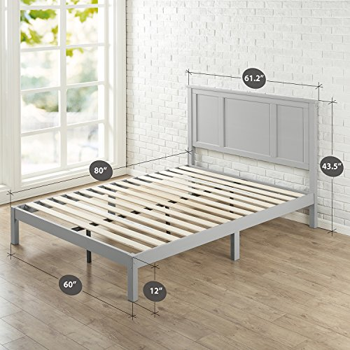 Zinus Wood Country Style Platform Bed with Headboard/No Box Spring Needed/Wood Slat Support, Queen