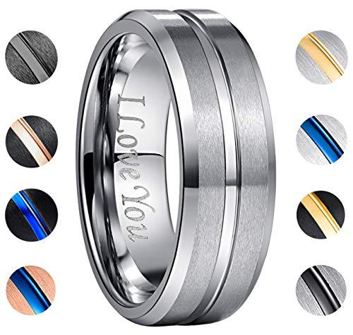 NUNCAD Men's 8mm Tungsten Rings Beveled Edge Comfort Fit Matte Finish Size 6