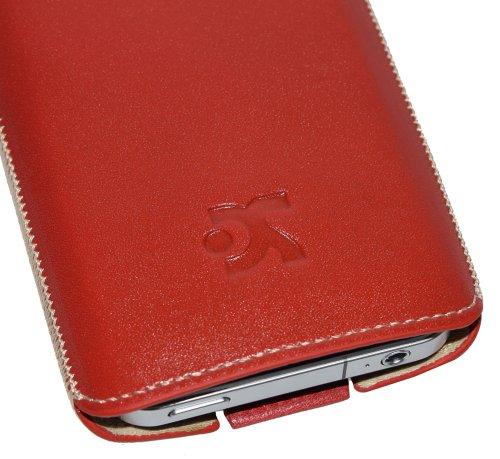 Original Suncase Schutzhuelle Leder Case - fuer Apple iPhone 4 - Handytasche Etui Tasche iPhone-4 (fuer Neueste iPhone 4. Generation) - in der Farbe Rot
