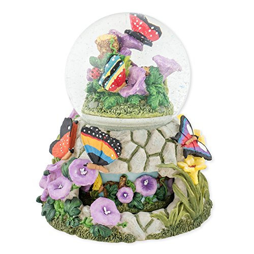 Butterflies on Flowers 100mm Resin Water Globe Plays Tune Wind Beneath My Wings by Cadona International, Inc