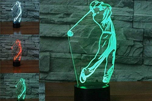3D Golf Player Night Light 7 Color Change LED Table Desk Lamp Acrylic Flat ABS Base USB Charger Home Decoration Toy Brithday Xmas Kid Children Gift