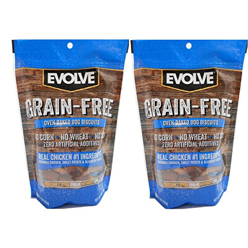 12oz Evolve Grain Free Chicken, Sweet Potato, and Blueberry Flavored Dog Biscuit (2 packs)