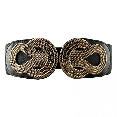 Retro Womens Plus Size Wide Waist Elastic Belt Metal Interlock Buckle Stretchy Cinch