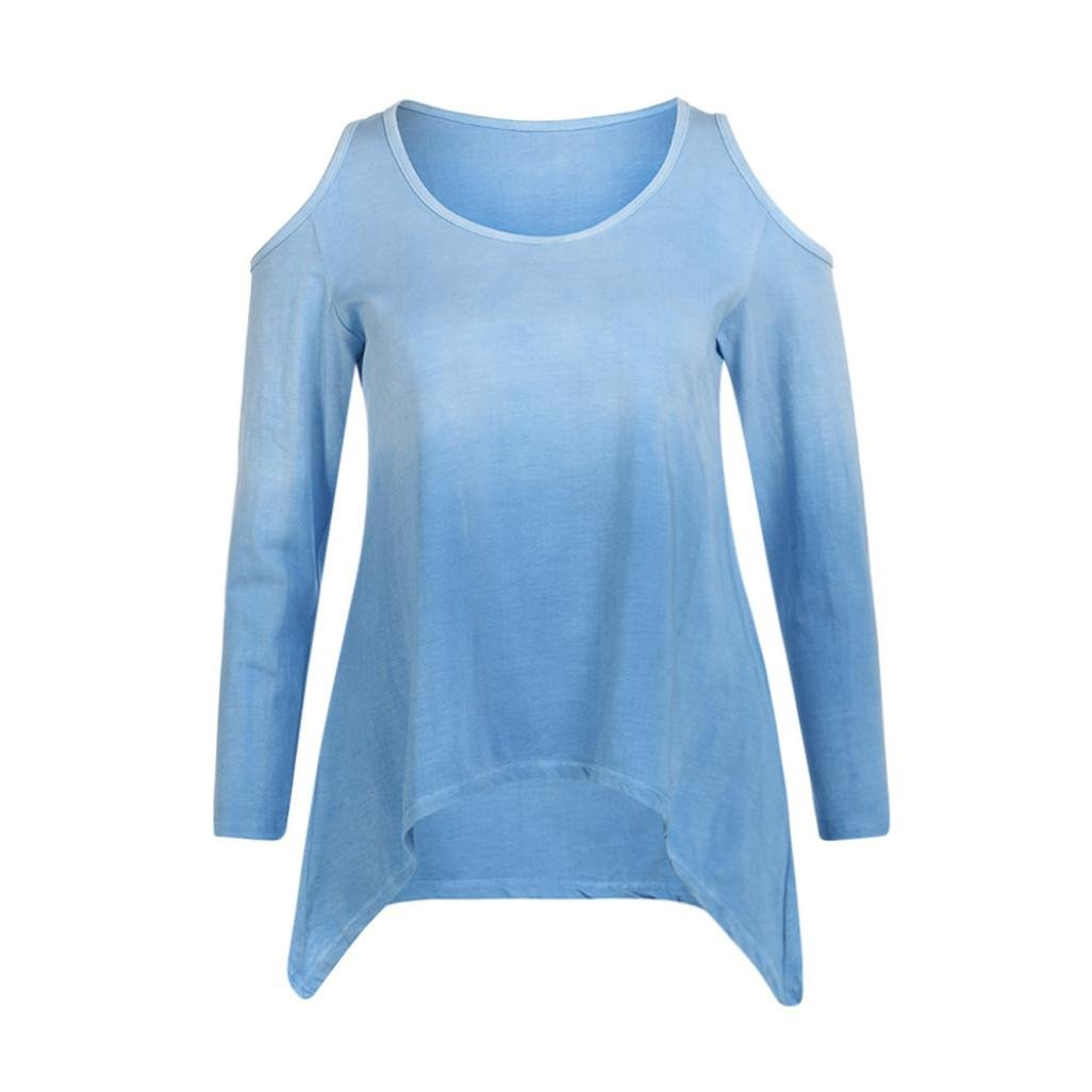 64f4b5e823320 Sannysis Autumn Women Long Sleeve Plus Size Tank Tops Blue Sexy Blouses  Loose S-2XL at Amazon Women s Clothing store