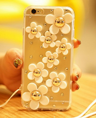 (Samsung Galaxy Note 8 Case - crystal_phonecase Luxury 3D Bling Handmade Jewelled Pearl Crystals Diamond Clear Case Cover for Samsung Galaxy Note 8 (White Sunflower))