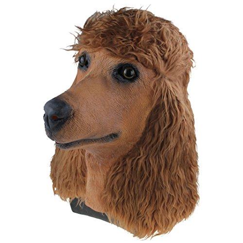 Brown Poodle Dog Masks Latex Animal Dog Head Mask Halloween Party Costume Decor Creepy Props -