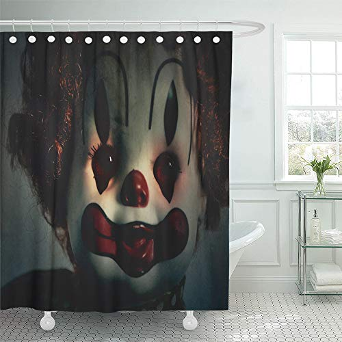 Emvency Decorative Shower Curtain Closeup Scary Evil Clown Toy Doll That Could Be Possessed Halloween Fear 72