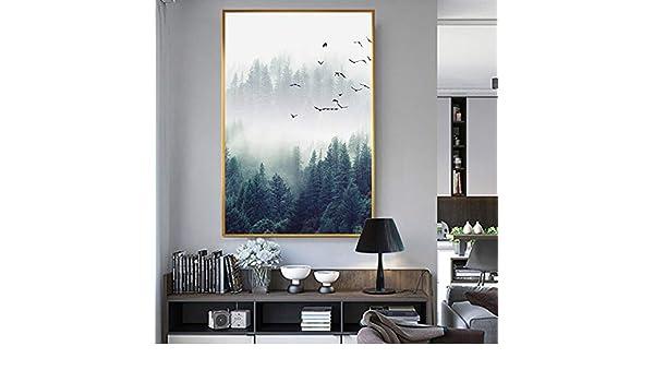 Sin Marco Hermoso pájaro del Bosque de Niebla en el Cielo Pintura de la Lona Imagen del Arte de la Pared para la Sala de Estar Estudio Decoración Paisaje nórdico Imprimir n