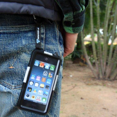 Armor-X MX-AP1X22-BK Case MX-AP1X22 wasserdichte und stoßfeste Schutzhülle mit Audio Kabel Karabinerhaken und Lenkerbefestigungs System für Apple iPhone 5 schwarz