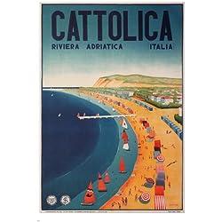 Cattolica VINTAGE TRAVEL POSTER Gogliardo Ossani 1939 Italian Riviera 24X36