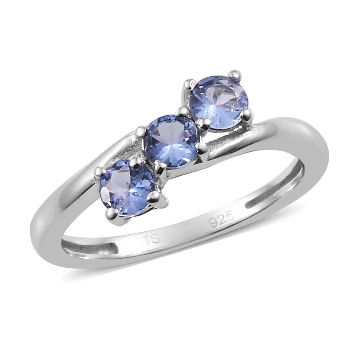 Round Tanzanite Ring 925 Sterling Silver Platinum Plated Jewelry for Women Size 6 Ct 0.5
