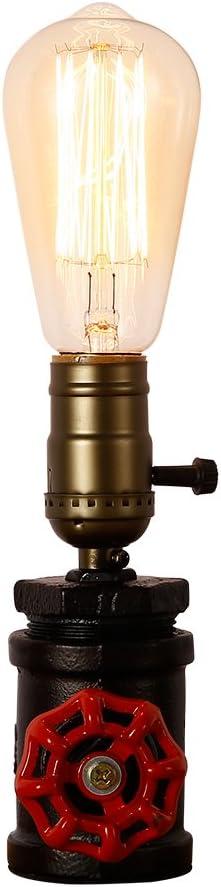 Lámpara Retro Loft de Injuicy, de ambiente, para mesa, de estilo Steampunk industrial, en hierro forjado, metálica, E27Edison, luces LED, rústica, tubería, escritorio.