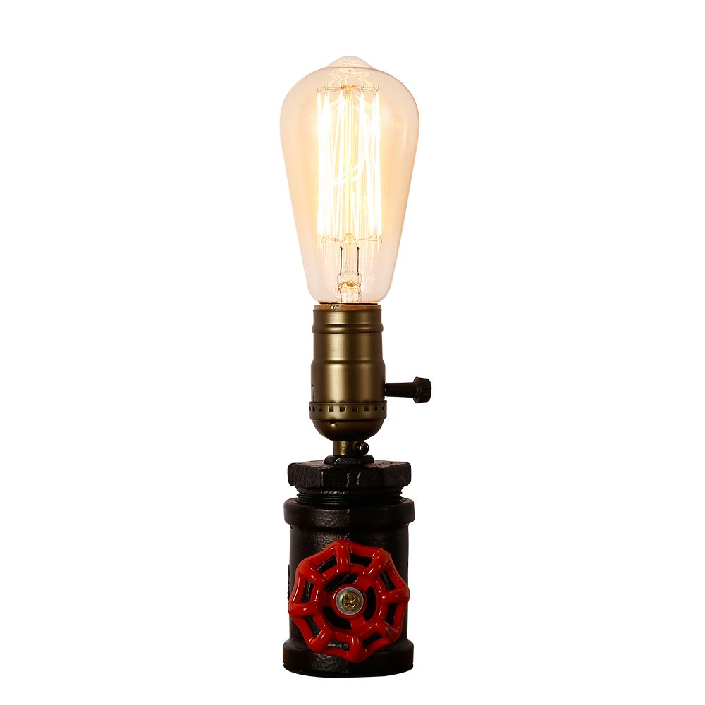 Injuicy Retro Loft Vintage Industrial Steampunk Wrought Iron E27 Edison Metal Table Lights Rustic Led Water Pipe Desk Accent Lamps (B)